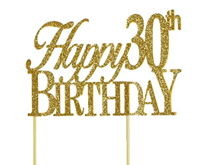 Amazon All About Details Gold Happy 30th Birthday Cake Topper