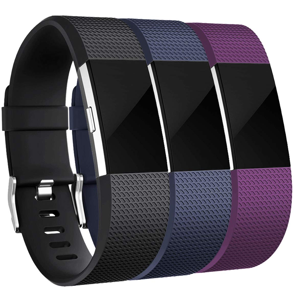Maledan Bands Replacement Compatible with Fitbit Charge 2, 3-Pack, Small Black/Blue/Plum