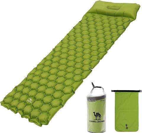 CAMEL CROWN Camping Esterilla Inflable con Almohada, Colchón Inflable para Dormir, Colchón Hinchable Ligera Portátil Impermeable Sleeping Pad para ...
