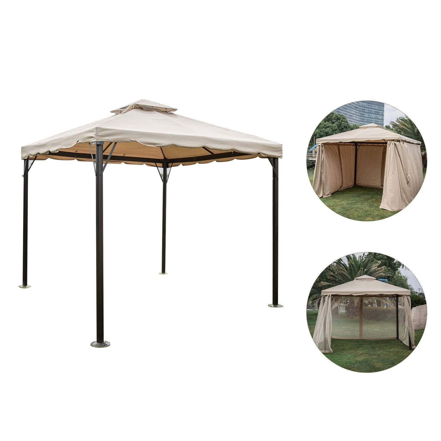 Kinbor 10' x 10' Outdoor Gazebo with Vented Mosquito Netting 2-Tiered Top Canopy with Privacy Sidewalls, Kanki