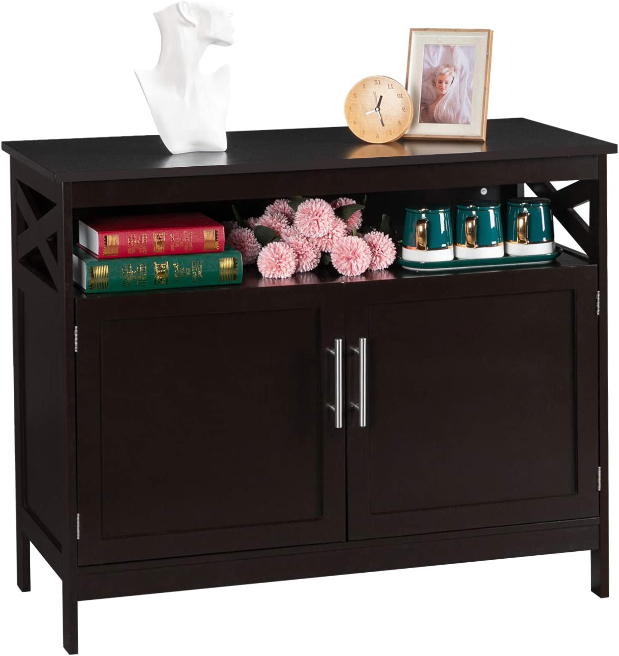 Vingli Sideboard Buffet Brown Kitchen Sideboard Cabinet Modern Dining Storage Server Multi Functional Buffet Cabinet In Kitchen Dining Room Living Room With Open Shelf Buffets Sideboards Home Kitchen Rayvoltbike Com