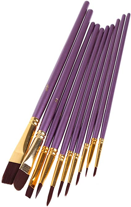 Pack of 10. Pro Arte assorted Fine Detail Paint Brushes for Miniatures