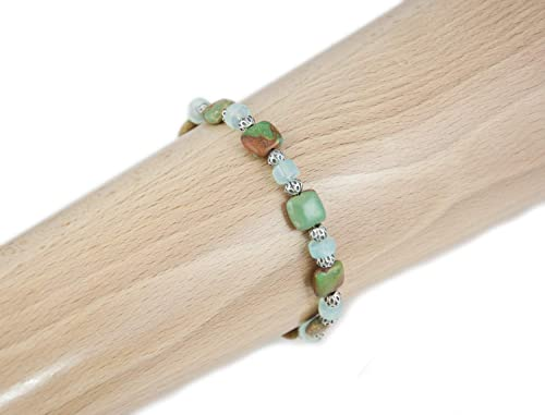 Natural Blue Green Turquoise faceted beaded Chain 14k Gold Vermeil Necklace 18