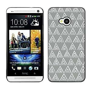 TopCaseStore / la caja del caucho duro de la cubierta de protección de la piel - Grey White Minimalist - HTC One M7