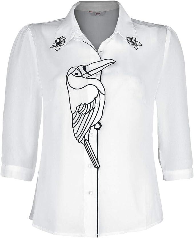 Banned Retro Toucan Blouse Mujer Blusa Blanco M, 100% poliéster, Regular: Amazon.es: Ropa y accesorios