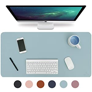 "Knodel Desk Pad, Office Desk Mat, 35.4"" x 17"" PU Leather Desk Blotter, Laptop Desk Mat, Waterproof Desk Writing Pad for Office and Home, Dual-Sided (Light Blue/Silver)"