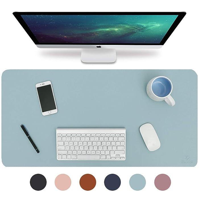 "Knodel Desk Pad, Office Desk Mat, 35.4"" x 17"" PU Leather Desk Blotter, Laptop Desk Mat, Waterproof Desk Writing Pad for Office and Home, Dual-Sided (Light Blue/Silver)"