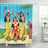 TOMPOP Shower Curtain Dance Hawaii Party Three Young Hula Girls Dancing Beach Waterproof Polyester Fabric 72 x 72 Inches Set with Hooks