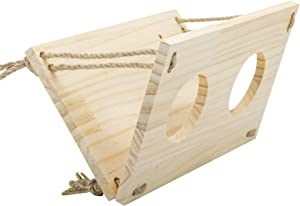 Rabbit Hay Wooden Manger Wall-mountable Food Feeding Rack Feeder Grass Holder Non-Toxic Grass Container Hay Dispenser for Guinea Pig, Rabbit, Chinchilla, Hamster