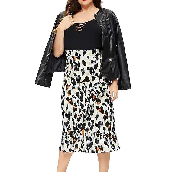 Qijinlook 💖 Faldas largas Leopardo Mujer Fiesta Elegante/Faldas ...