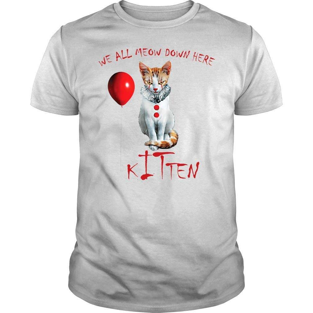 We All Meow Down Here Clown Cat Kitten T Shirt Premium Halloween Shirt Gift For