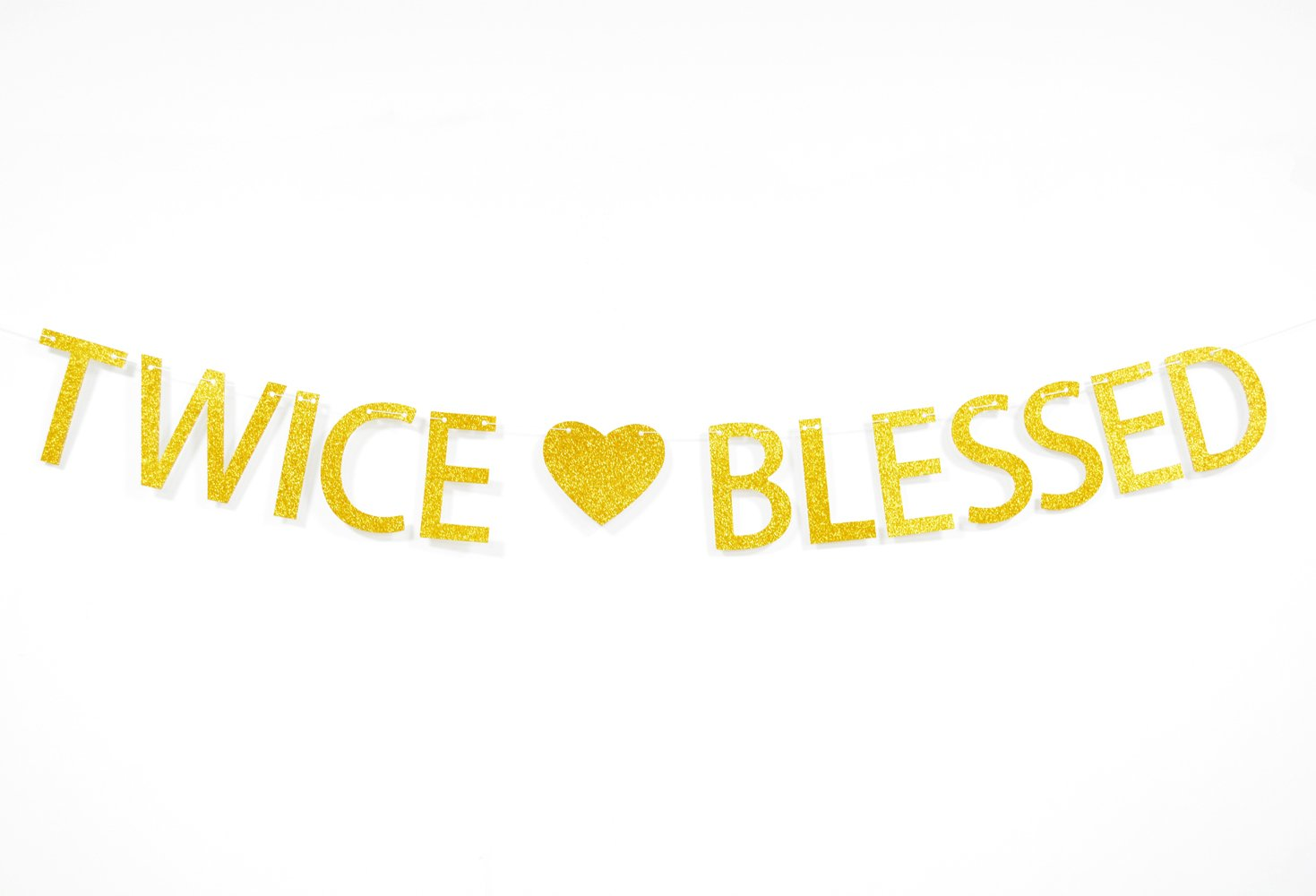 Twice Blessed Gold Glitter Banner For Twins Baby Shower,Pregnancy Announcement,Gender Reveal