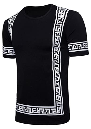 bd0c9401702e Amazon.com: SportsX Men Court Style Printed Short-Sleeve Comfy Round Collar  Chic Soft T-Shirt: Clothing