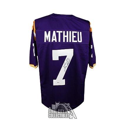 uk availability 24312 2f220 Signed Tyrann Mathieu Jersey - Custom Purple Football BAS ...