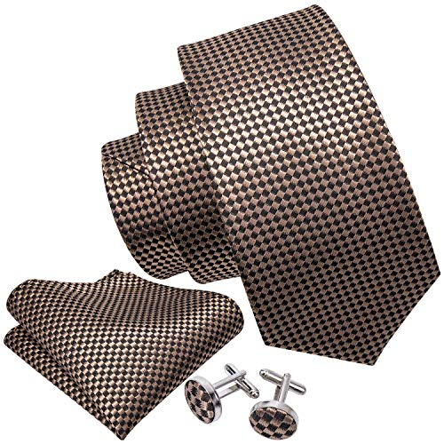 - Barry.Wang Classic Brown Tie Set Plaid Neckties Woven,Brown Plaid,One Size