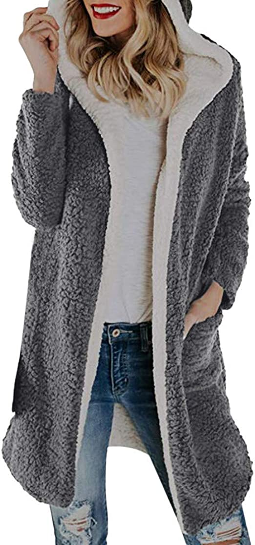 AOJIAN Women Jacket Long Sleeve Outwear Knitted Open Front Maxi Pocket Solid Cardigan Coat Cover Up