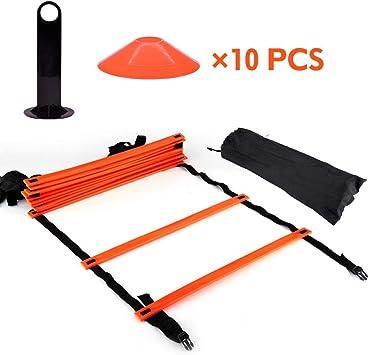 Escalera de agilidad velocidad escalera velocidad agilidad tren Kit de escalera de agilidad, escalera de entrenamiento de velocidad 9Ft escalera plana + 10 unidades de conos: Amazon.es: Hogar