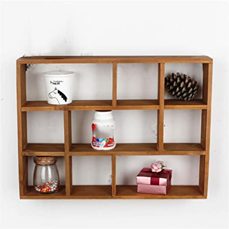 Uncle Sam Solid Wood 9 Grid Hollow Shelves Wall Mounted Wall