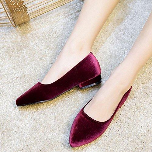 Flat On Pumps Flats Women Slip Fashion Claret Zanpa cBEfa