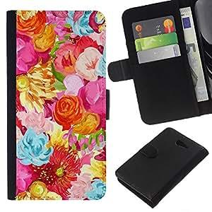 KLONGSHOP // Tirón de la caja Cartera de cuero con ranuras para tarjetas - Campo Flores Patrón vibrante - Sony Xperia M2 //