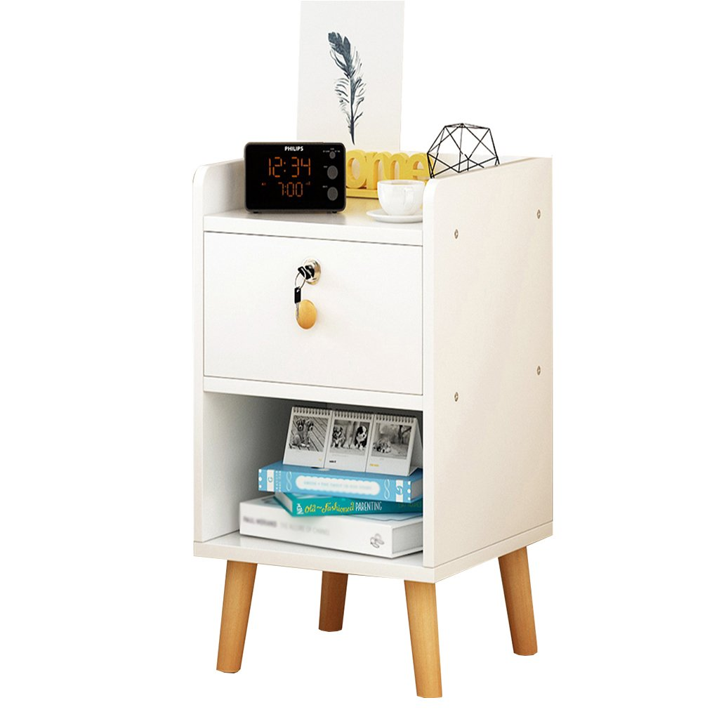JU FU Bedside Table Bedside Table - White/Black MDF Production Locker Living Room Bedroom Mini 1/2 Layer Space Lock Design Drawer [6 Styles and 4 Sizes] @@ (Color : E, Size : 403953CM) by JU FU