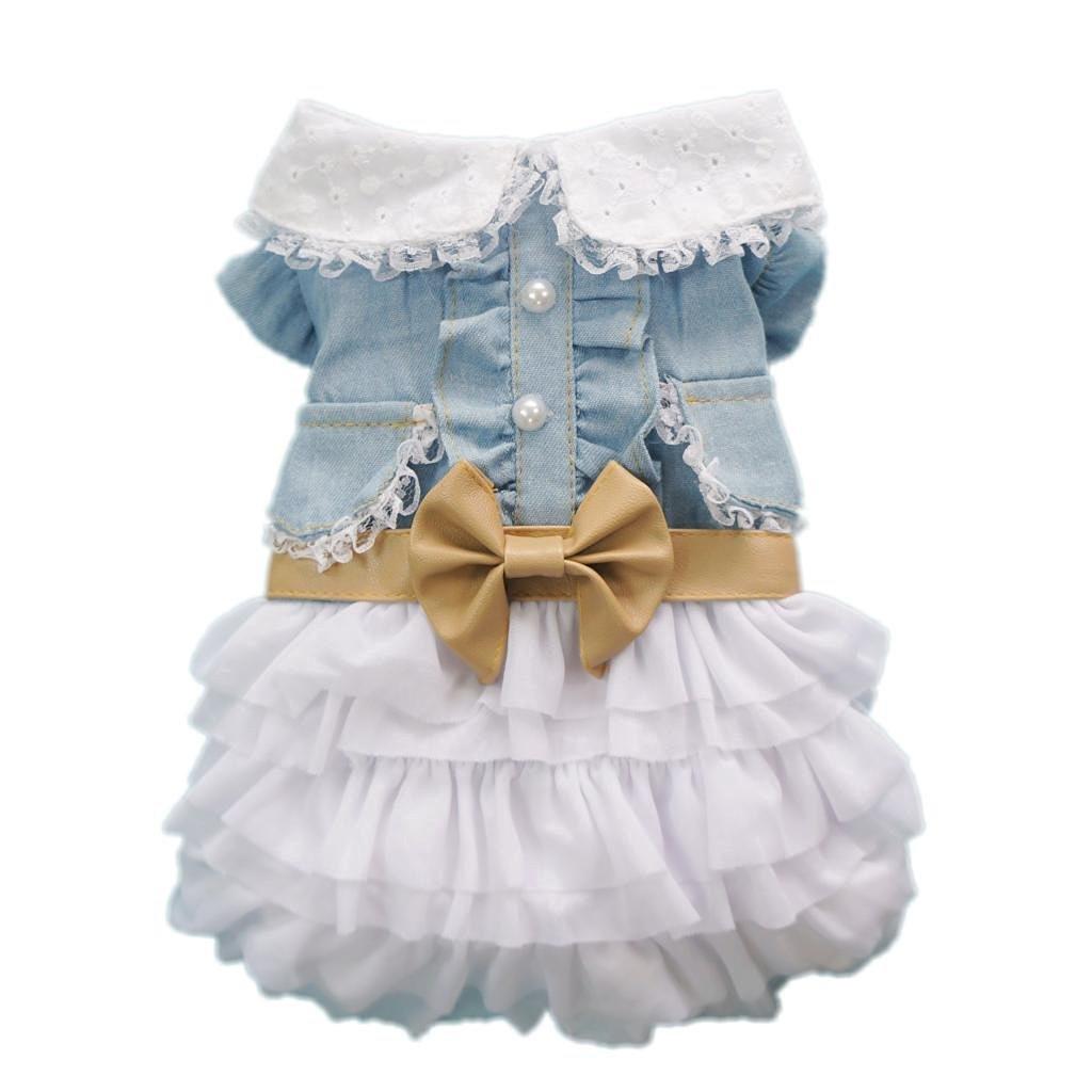 Dress up your pet game - Petparty Fairy Denim Dog Dress For Dog Clothes Charming Cozy Dog Shirt Pet Dress S