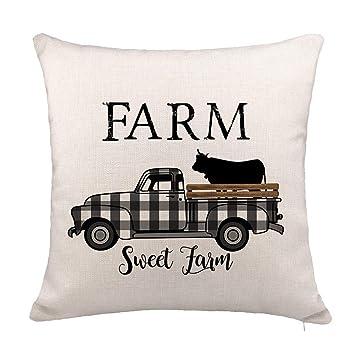 Amazon.com: YOENYY Farm Sweet Farm Plaid Camión con Vaca ...