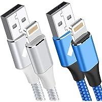 Aioneus Cables Cargador iPhone 2M Blanco y 0.5 M Azul Cable iPhone,[Certificado MFi] Cable Lightning Carga Rápida para…