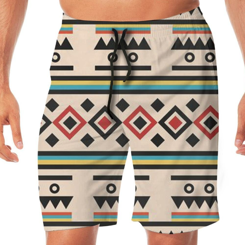 Mens Color Tribe Causal Beach Shorts with Elastic Waist Drawstring Lightweight Slim Fit Summer Short Pants with Pockets