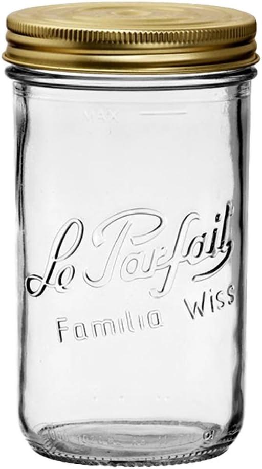 Le Parfait Familia Wiss Terrine - 1L Wide Mouth French Glass Mason Jar w/ 2-Piece Gold Lid, 32oz/Quart (Single Jar) dia.100mm