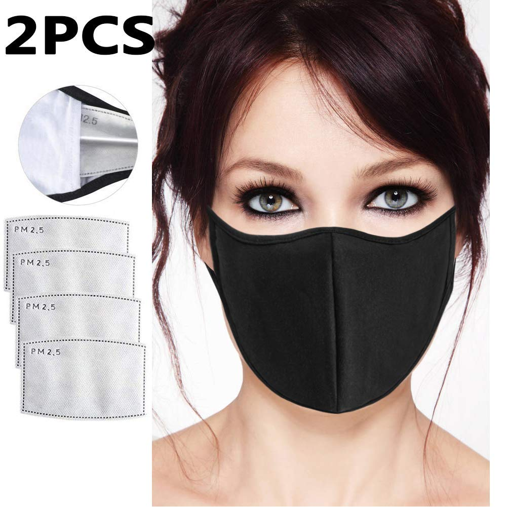 2 Pieces N95 N99 Dust Respirator Mask for Pollution, Smoke - Washable Reusable Comfy Face Mask - with Activated Carbon Valve Replaceable Filter for Men Women(2PCS Black) by BeatBasic