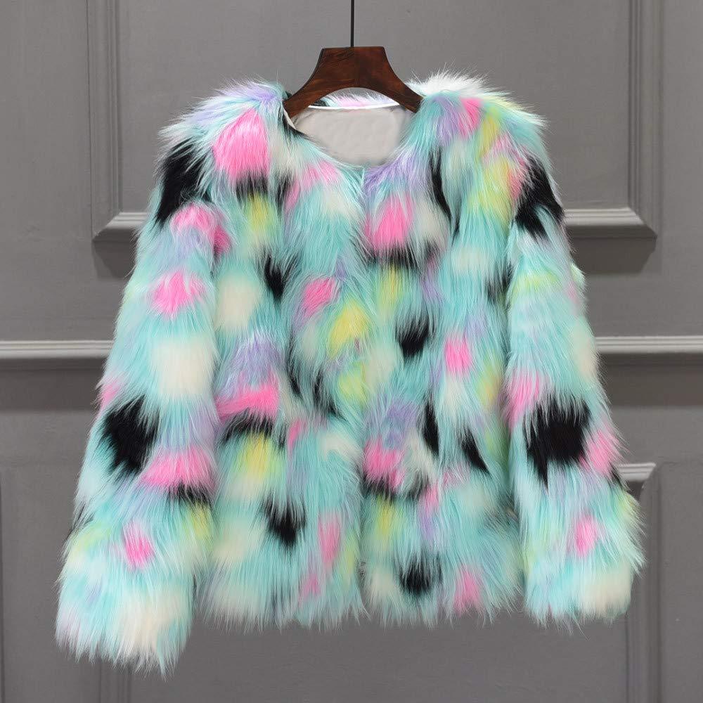 Linlink Chaqueta de Abrigo de Piel sintética para Mujer de Las señoras Chaqueta de Abrigo de Invierno de Color Degradado: Amazon.es: Ropa y accesorios