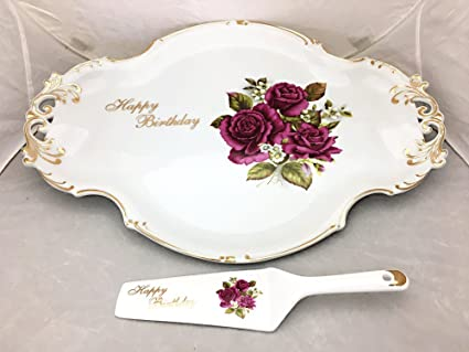 Image Unavailable Not Available For Color Happy Birthday Platter Cake Server