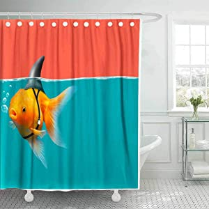 Teepel Country Shower Curtain Fabric Shower Curtain Out Shower Curtain Goldfish with Shark Fin Swim in Green Water and Red Sky Gold Fish 78X72Inch Cool Shower Curtain for Bathroom Decor with Hooks