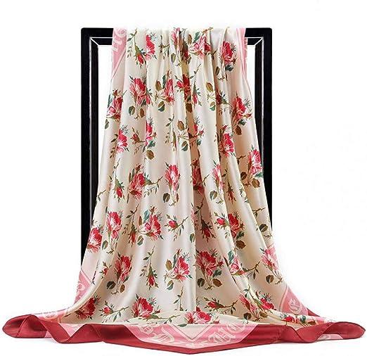 LSWYQM Bufanda de Seda Mujer España Carta Flor Impreso Chales de Seda Envolturas Foulard Head Hijab Pañuelos Cuadrados 90cm * 90cm Bandana: Amazon.es: Hogar