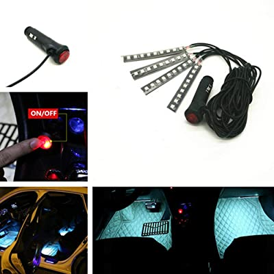 4pcs Car Interior Decoration, NERLMIAY Atmosphere Light-LED Car Interior Lighting Kit, Waterproof, Interior Atmosphere Neon Lights Strip for Car (white): Automotive