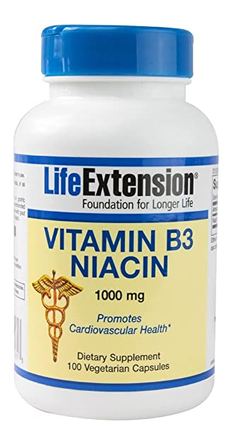 Life Extension, VITAMIN B3 NIACIN 1000 MG 100 CAPSULES