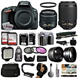 Nikon D5500 Digital Camera with 18-55mm Lens (1546) + 55-200mm VR Lens + 128GB Memory + (2) Batteries + Charger + Video Light + Monopod + Backpack + Case + 3 Filters + 2.2x Telephoto + Action Grip