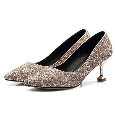 DYF Chaussures Femmes Talon Haut Sharp Nu Couleur Solide Bouche Peu Profonde Grande Taille, Rouge, 42
