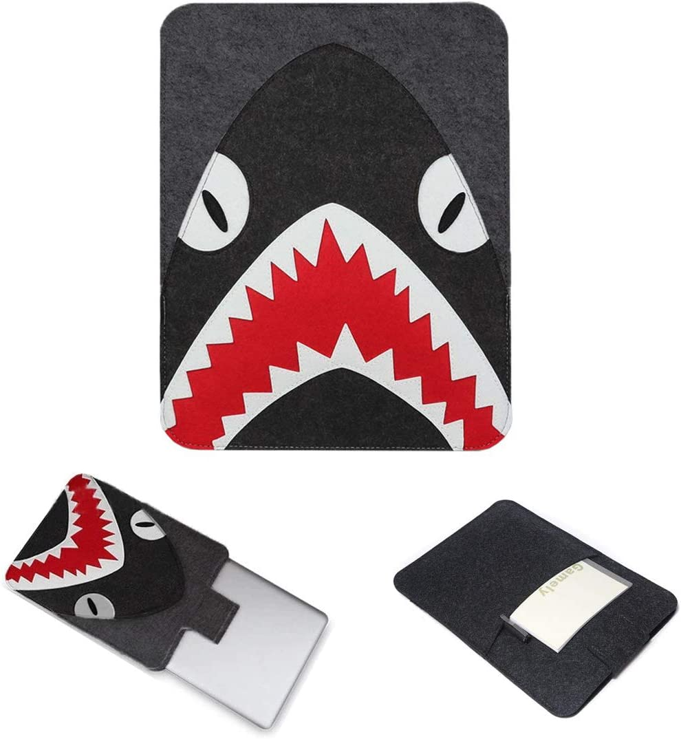 Felt Laptop Sleeve Case Elephant with Pouch for MacBook, MacBook Air, MacBook Pro Best Gift for Children Family (13 Inch, Shark)
