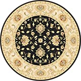 Antique Treasure Traditional Classic Keshan Black Center Ivory Border Round Area Rug 5'3''