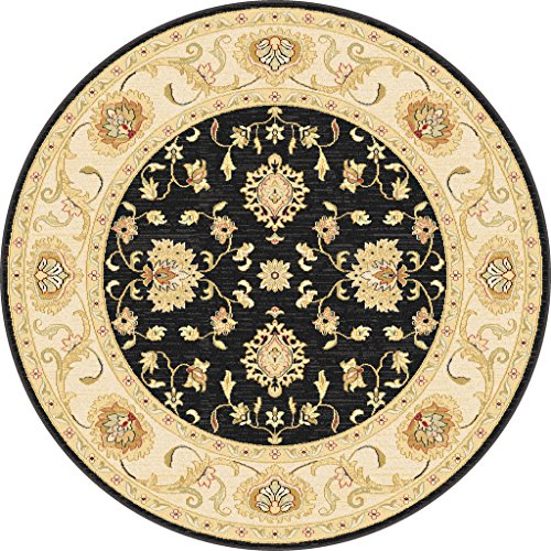 Antique Treasure Traditional Classic Keshan Black Center Ivory Border Round Area Rug 5'3'' by Antique Treasure