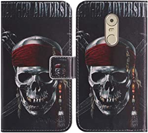 TienJueShi Skull Book-Style Flip Leather Protector Case Cover TPU Silicone Etui Wallet for Lenovo K6 Note 5.5 inch