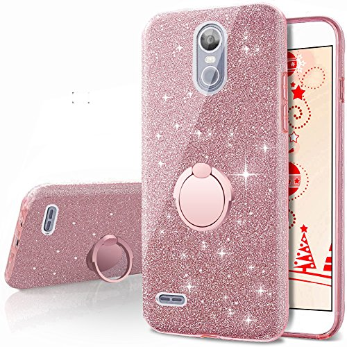 sports shoes 980a6 242de LG Stylo 3 Case,LG Stylo 3 Plus Case, Silverback Girls Bling Glitter  Sparkle Cute Case With 360 Rotating Ring Stand, Soft TPU Outer Cover + Hard  PC ...