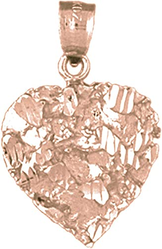 Rose Gold-plated Silver 25mm Nugget Heart Pendant