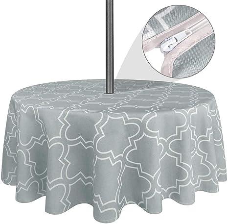 Do4U 60 round con foro per ombrello e cerniera Boemia Tovaglia impermeabile per esterni Poliestere