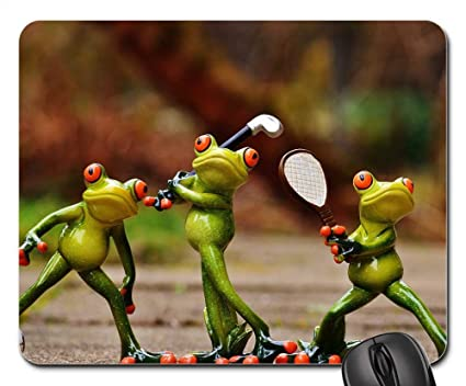 Amazon.com : Mouse Pads - Frogs Athletes Football Tennis Golf Funny ...