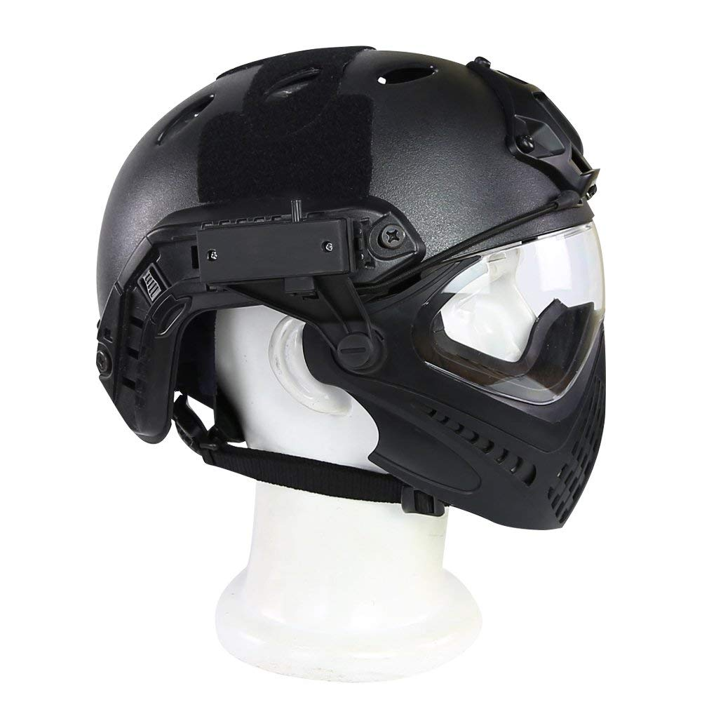 Large Tactical Helmet, Tactical Military Ballistic Helmet Full Face Mask with Goggle Predective Helmet for Airsoft Paintball,M