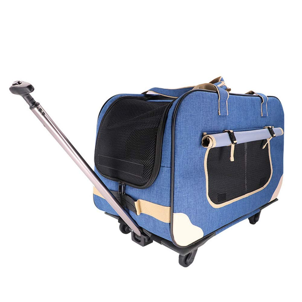 bluee 623539cm bluee 623539cm MISSKERVINFENDRIYUN Dog Out Bag Four-Wheel Folding Trolley Case Cat Pet Stroller Breathable Cat Dog Suitcase (color   bluee, Size   62  35  39cm)