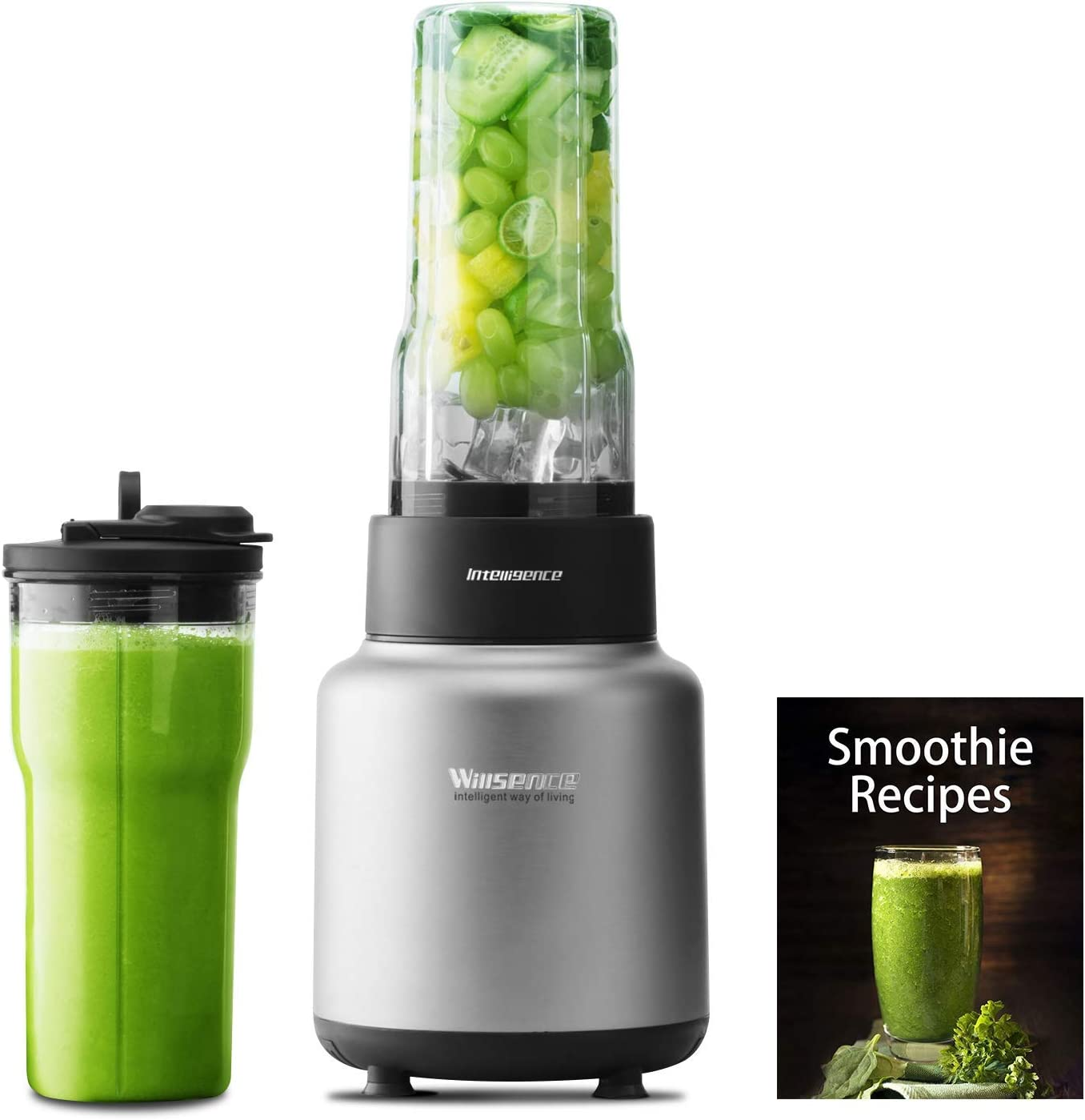 Willsence Blender 30000 RPM/Min Smoothie Blender 1500W High Speed, NUTRI-IQ Intelligent Identification of Food Hardness System, 6 Different Edges Stainless Steel Blade, BPA-Free 2 x 24 OZ Tritan Travel Cups, Recipe Book included
